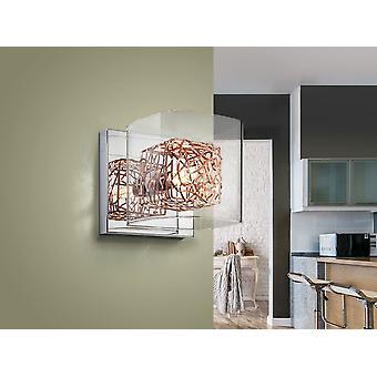 Schuller Lios - Lampe murale de 1 lumière en métal, finition chromée. Ombre en verre moulé, cadre intérieur cubique de fil de cuivre. - 867123