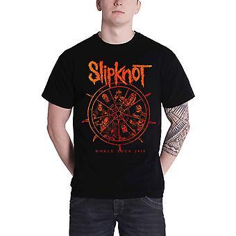 Slipknot T Shirt mens world tour 2015 The Wheel band logo new Official Black