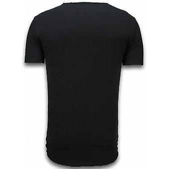 Damaged Look Shirt-Long Fit T-shirt-green-black