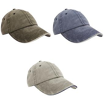 Result Washed Fine Line Cotton Baseball Cap With Sandwich Peak