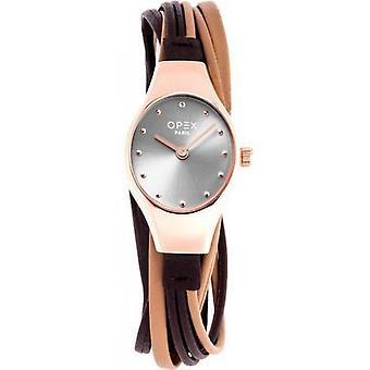 Opex OPW024 Watch - FILANTE Leather Bracelet Dor Rose Bo tier Silver Steel Women
