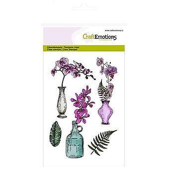 Craftemotions Clear Stamps A6 - Orchid, Vases And Bottle