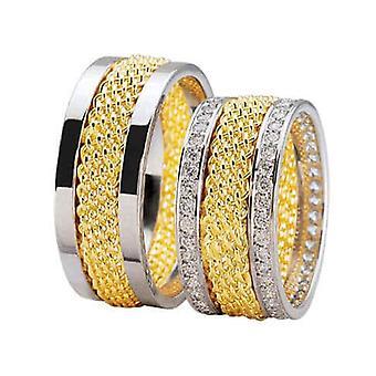 Bicolor diamond wedding rings