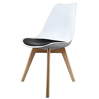 Fusion Living Eiffel Inspired White And Black Dining Chair With Squared Light Wood Legs