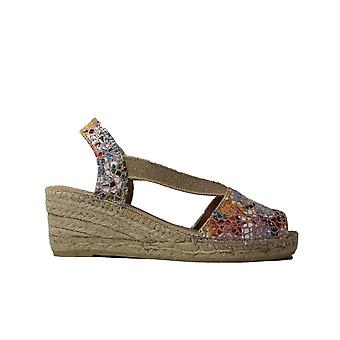 Toni Pons Teide-PM Taupe/Multi Coloured Leather Womens Pull On Wedge Espadrille Sandals