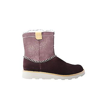 Clarks Crown Piper Burgundy/Pink Suede Leather Girls Warm Winter Boots