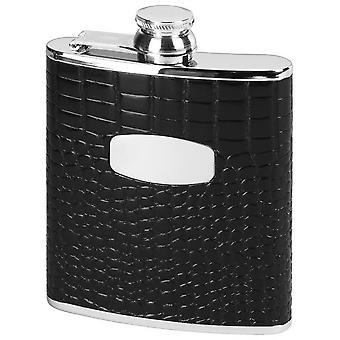 Orton West 6oz bambino Croc stile Captive Top Hip Flask - nero/argento
