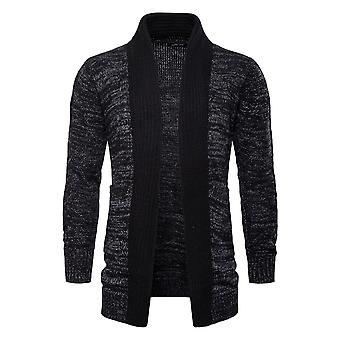 Cloudstyle Men's Cardigan Mid Long Cotton Lapel Collar Sweater