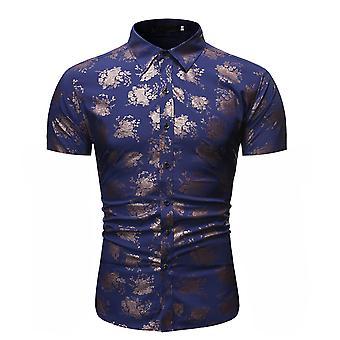 Allthemen الرجال & apos;ق أزياء الأزهار المطبوعة قميص قصير الأكمام