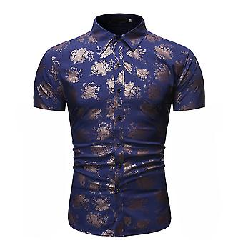 Allthemen Men's Fashion Floral Printed Short Sleeved Shirt