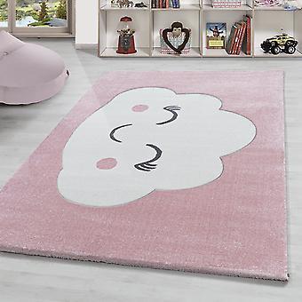 Tapis d'enfant doux nuage motif chambre bébé chambre d'enfant pastel rose blanc
