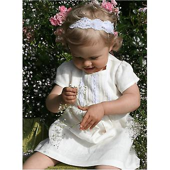 Off White Special Occasion Dress In Linen For Baby Girls - Grace Of Sweden