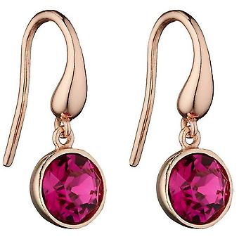 Elements Silver Round Drop Earrings - Rose Gold/Fuchsia Pink