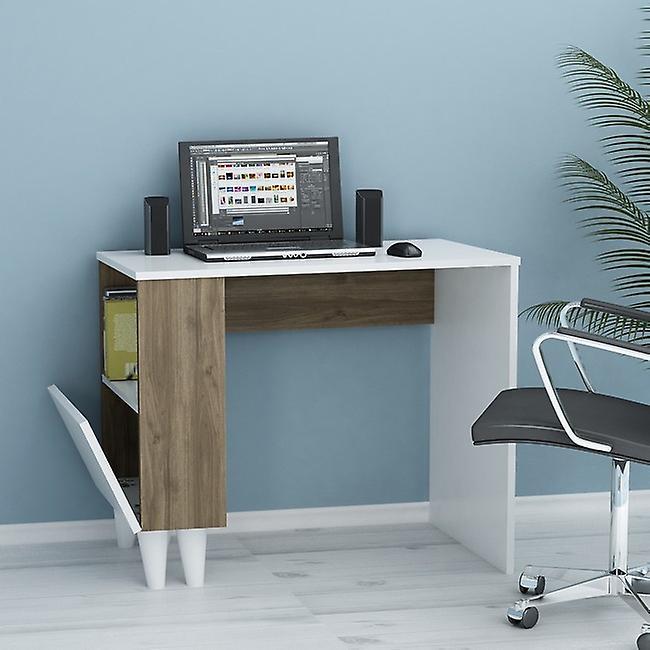 Desk Paris White Color, Noyer en puce melaminique, L90xP50xA75 cm