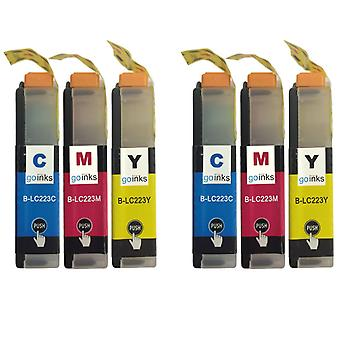 2 C/M/Y színes XL készlet kompatibilis Brother LC223 nyomtató tintapatronok