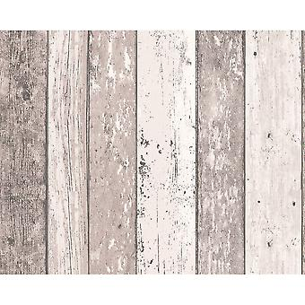A.S. Creation AS Creation Painted Wood Beam Wooden Panel Faux Effect Textured Wallpaper