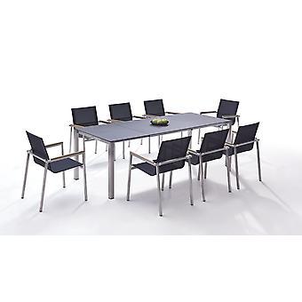 Rozsdamentes acél étkező csoport Linares 8 160/ 220 - fekete