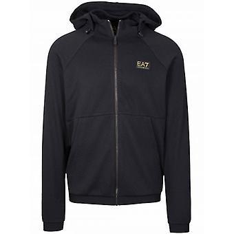 EA7 Black Hooded Polyester Sweatshirt