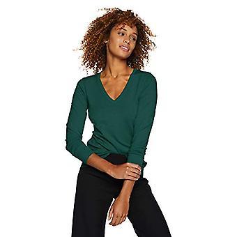 Marke - Lark & Ro Women's Langarm V-Ausschnitt Pullover, Smaragd, groß