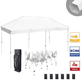 Instahibit 10x20 ft Pop Up Canopy Tent CPAI-84 Commercial Trade Fair Ez Pop up Canopy Shade Party Tent 1680D Roller Bag
