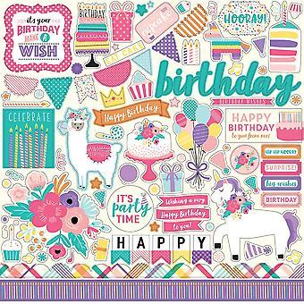 Echo Park alles Gute zum Geburtstag Mädchen 12 x 12 Zoll Element Aufkleber