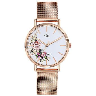 Go Girl Only Watch 695297 - Steel Dor Rose Milanese White Dial Fleuri Woman