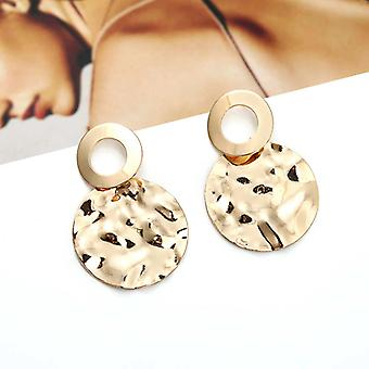 Gold Hammered Disc Drop Earrings