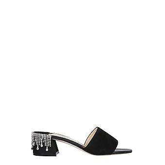 Jimmy Choo Minea45drsblackcrystal Women's Black Suede Slippers