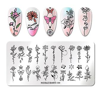 Geometric Design Stamping Plate Flower -stainless Steel Nail Art Image Stamp,