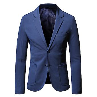YANGFAN Herren Single Breasted Two Button Suit Jacke flach Kragen Übermantelung