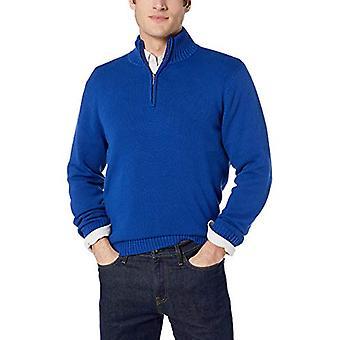 Brand - Goodthreads Men's Soft Cotton Quarter Zip Sweater, Bright Blue...