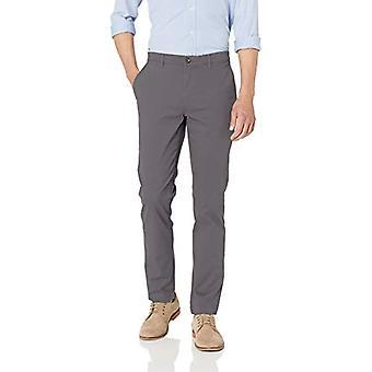 Essentials Men's Skinny-Fit Casual Stretch Khaki Pant, Gris foncé, 32W x 32L