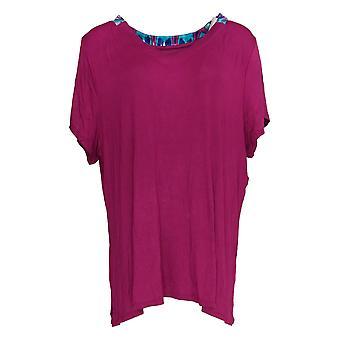Carole Hochman Women's Regular Pajama Top Coastal Ikat Purple A373456