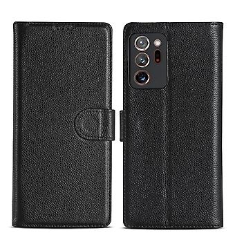 For Samsung Galaxy Note 20 Case Fashion Genuine Leather Wallet Cover Black