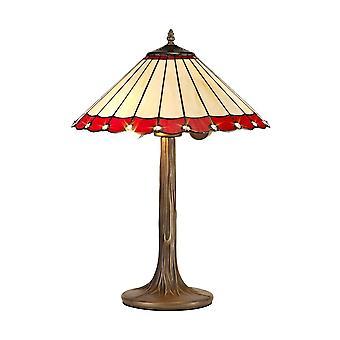 2 Albero leggero come lampada da tavolo E27 con 40cm Tiffany Shade, Rosso, Cristallo, Ottone Antico Invecchiato