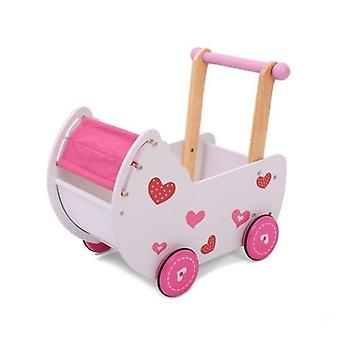 Hölzerne Puppenwagen rosa geeignet für Babries und Puppen