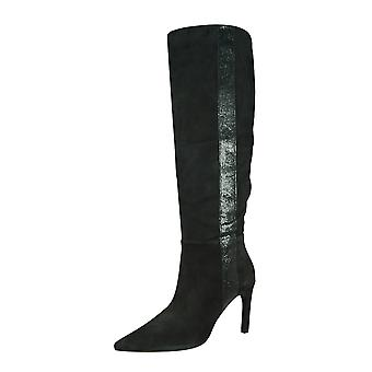 Geox D Faviola H Womens Knee High Suede Tall Boots - Black