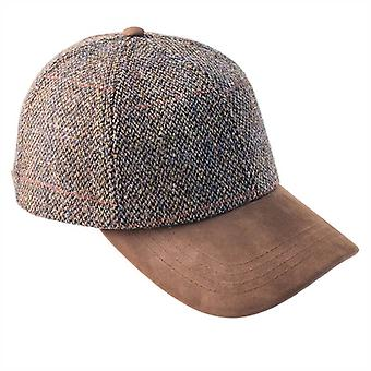 ZH016 (GREY ONE SIZE ) Glencairn Harris Tweed Lth Pk BB Cap