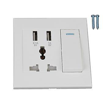 White 3 Hole Wall Plug and Wall Socket Power Switch with 2 USB Charging Port
