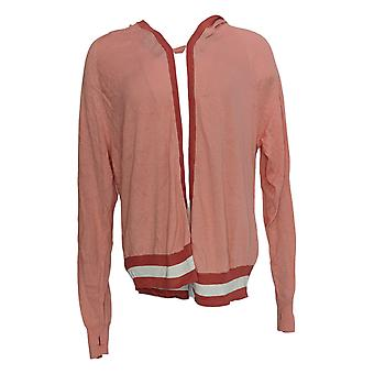 Lisa Rinna Collection Women's Striped Hooded Cardigan Red A305077
