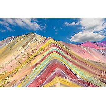 Muurschildering Rainbow Mountains in Peru