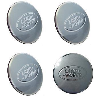 Silver Land Rover Wheel Center Caps Hub Badges 63mm 4 PCS For Evoque Defender Discovery Sport Velar Freelander