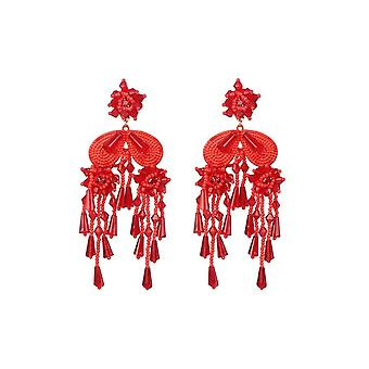 Statement Earrings - Red