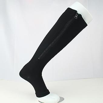 Sports Pressure Long Cycling Socks, Zipper Professional Leg Support Thick Women