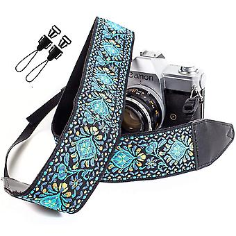 Cintura con cinturino per fotocamera vintage intrecciata blu per tutte le fotocamere dslr 'Äì ricamato elegante dslr universale stra