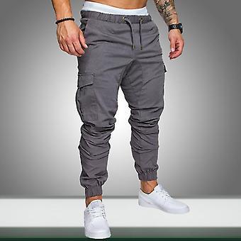 Uomini Safari Cargo Pantaloni sottili Joggers Pantaloni Felpa Casual Male Sportswear Solido