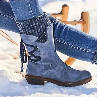 Herfst Winter Warm Vintage Flat Lace Up Snow Boots, Breien Patchwork Vrouw