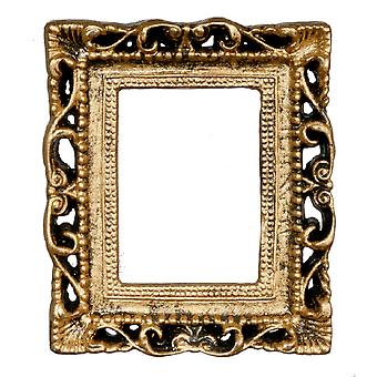 Dolls House Empty Ornate Antique Gold Picture Frame Medium Miniature Accessory