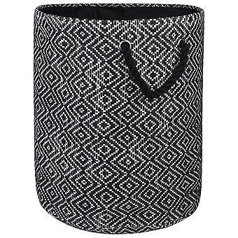 Dii Paper Bin Diamond Basketweave Noir/Blanc Moyen Rond