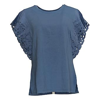 Belle by Kim Gravel Women's Top Flutter Sleeve Lace Trim Top Blue A351613